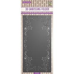 (EF3D035)Nellie's Choice Embossing folder Slimline size, Curs-stars frame