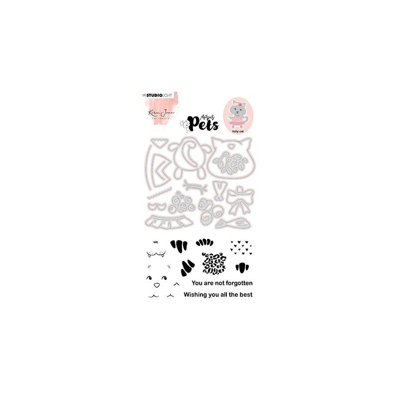 (KJ-MBKJ-SCD03)Studio Light KJ Stamp & Cutting Die, Building Pets Cat Missees nr.03