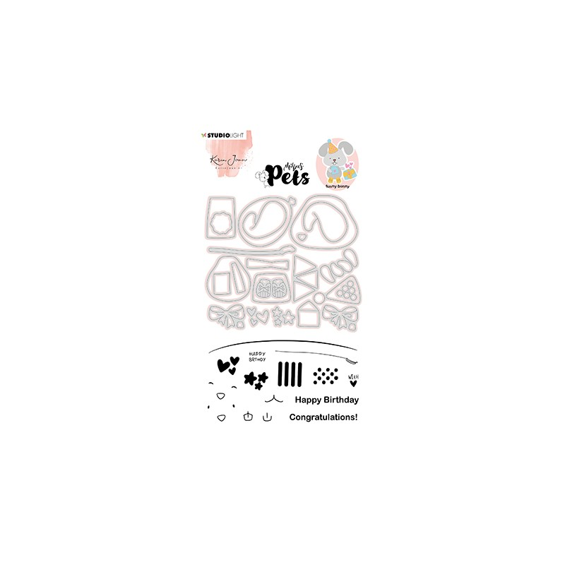 (KJ-MBKJ-SCD05)Studio Light KJ Stamp & Cutting Die, Building Pets Bunny Missees nr.05