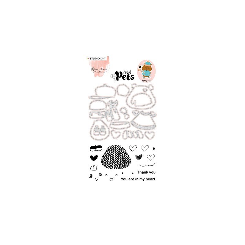 (KJ-MBKJ-SCD06)Studio Light KJ Stamp & Cutting Die, Building Pets Bear Missees nr.06