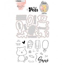 (KJ-MBKJ-SCD10)Studio Light KJ Stamp & Cutting Die, Complete Pets Cat Missees nr.10