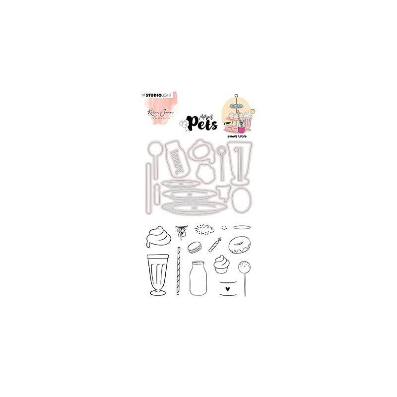 (KJ-MBKJ-SCD11)Studio Light KJ Stamp & Cutting Die, Complete Pets Sweet table Missees nr.11