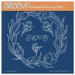 (GRO-FL-41992-03)Groovi Plate A5 LINDA WILLIAMS' GROOVI CONTOURS - TULIPS FLORAL FRAME