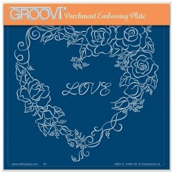 (GRO-FL-41991-03)Groovi Plate A5 LINDA WILLIAMS' GROOVI CONTOURS - ROSE HEART FRAME