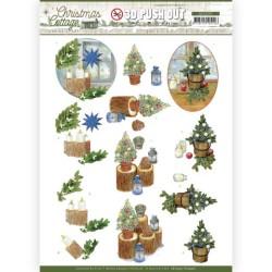 (SB10591)3D Push Out - Jeanine's Art - Christmas Cottage - Blue Decorations
