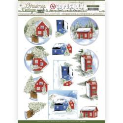 (SB10592)3D Push Out - Jeanine's Art - Christmas Cottage - Winter Cottage