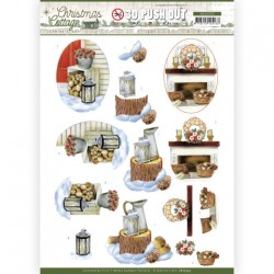(SB10593)3D Push Out - Jeanine's Art - Christmas Cottage - Wood Decorations