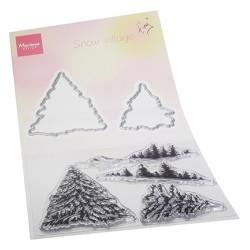(TC0887)Clear stamp & die set Tiny's Snow village