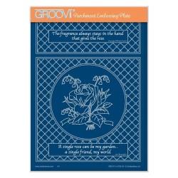(GRO-FL-41783-04)Groovi Plate A5 JAYNE NESTORENKO ROSE & LATTICE FRAME