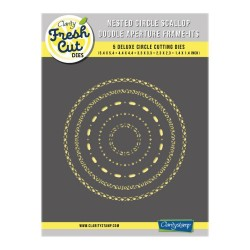 (ACC-DI-31156-66)Clarity NESTED CIRCLE SCALLOP DOODLE APERTURE FRAME-ITS DIE SET