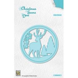 (CRSD019)Nellie's choice Christmas scene dies Round frame Reindeer