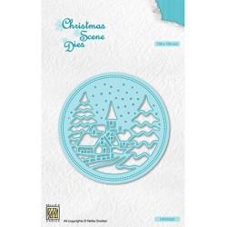 (CRSD020)Nellie's choice Christmas scene dies Round frame Snowy village