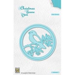 (CRSD022)Nellie's choice Christmas scene dies Round frame Bird on branch