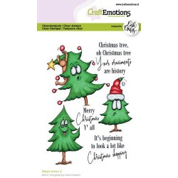 (1522)CraftEmotions clearstamps A6 - Xmas trees 2 (Eng) Carla Creaties