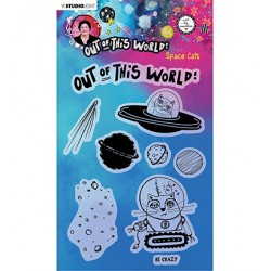 (ABM-OOTW-STAMP71)Studio light ABM Clear Stamp Space Cats Out Of This World nr.71