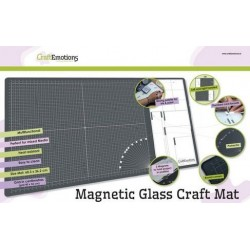 (860503/1800)CraftEmotions Glass Craft Mat (60,3 x 36,2cm) magnétique Tempered glass grid 40x32cm
