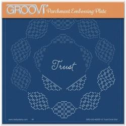 (GRO-GG-42055-12)Groovi Grid Plate JOSIE DAVIDSON'S TRUST CIRCULAR LACE DUET