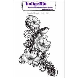 (CL I)IndigoBlu Clematis Flourish Mounted A6 Rubber Stamp