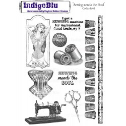 (SMS I Mtd)IndigoBlu Sewing Mends The Soul Mounted A5 Rubber Sta