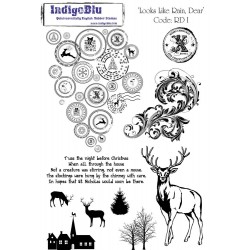(RD I mtd)IndigoBlu Looks Like Rain Deer Mounted A5 Rubber Stamp