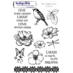 (LLL Mtd)IndigoBlu Live Laugh Love Mounted A5 Rubber Stamp