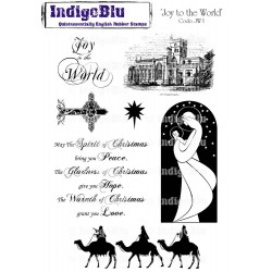 (JW I Mtd)IndigoBlu Joy to the World Mounted A5 Rubber Stamp
