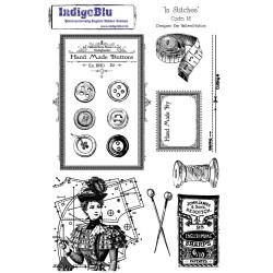(IS Mtd)IndigoBlu In Stitches Mounted A5 Rubber Stamp