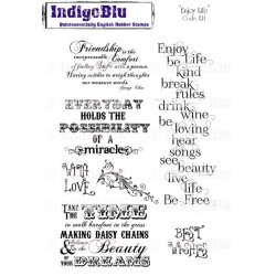 (EJ1 Mtd)IndigoBlu Enjoy Life Mounted A5 Rubber Stamp
