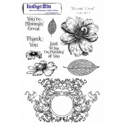 (BG I mtd)IndigoBlu Blooming Great Mounted A5 Rubber Stamp